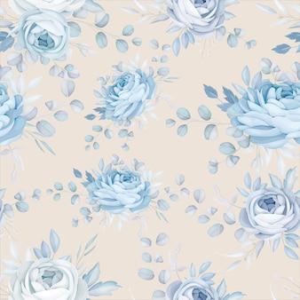 Design clássico de padrão floral azul sem costura