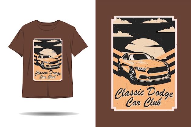 Design clássico de tshirt com ilustração vintage do dodge car club