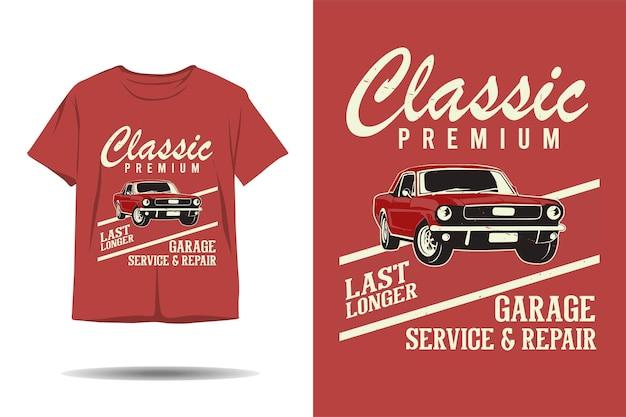 Design clássico de tshirt de silhueta de reparação e serviço de garagem premium