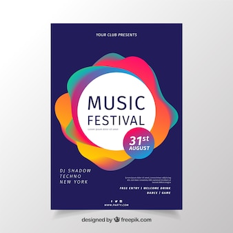 Design colorido de cartaz de música