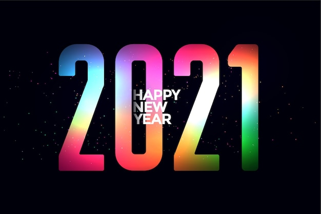 Design colorido de feliz ano novo brilhante de 2021