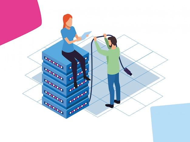 Design colorido de grande volume de dados com homem e mulher sentada no servidor do centro de dados