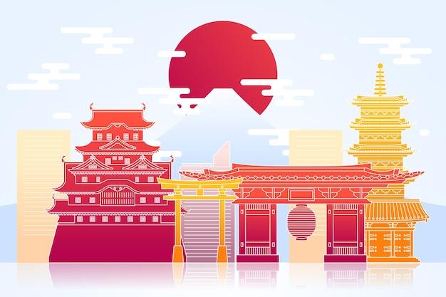 Design colorido de horizonte de marcos