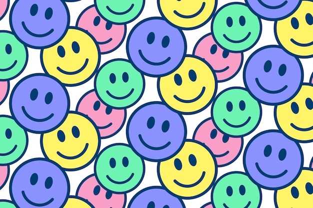 Design colorido de padrão emoji feliz