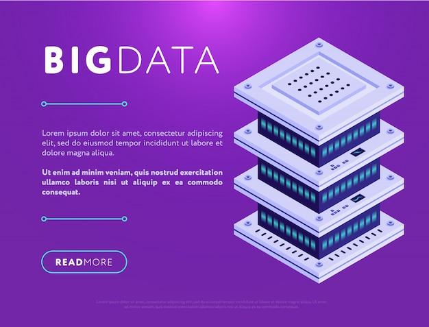 Design colorido de página da web com banco de dados