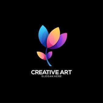 Design colorido gradiente do logotipo da flor