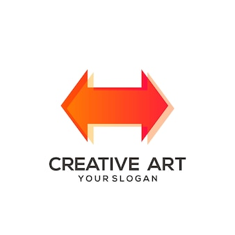 Design colorido gradiente do logotipo da seta