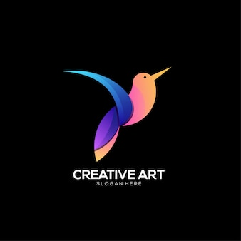 Design colorido gradiente do logotipo do pássaro