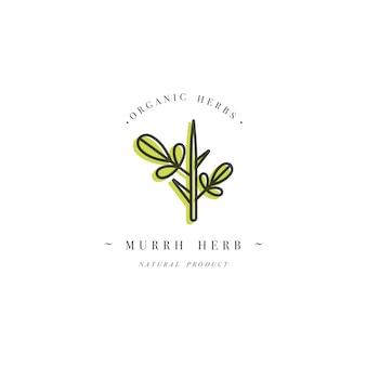 Design colorido modelo logotipo e emblema saudável- murrh. logotipo no elegante estilo linear isolado.