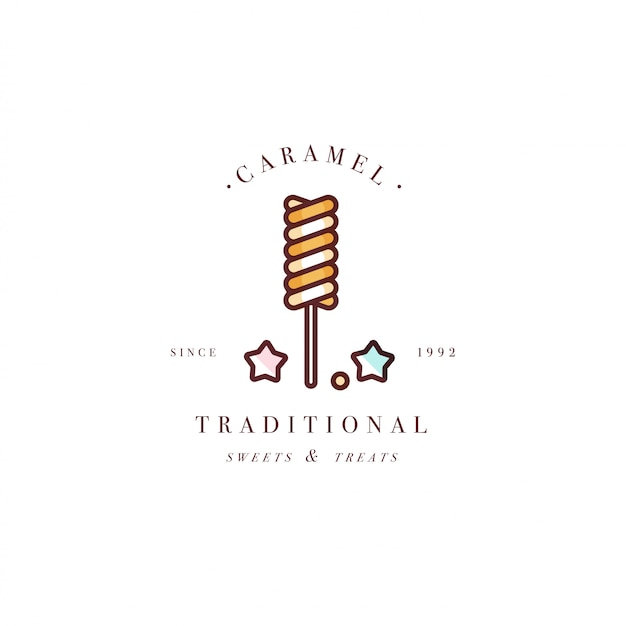 Design colorido modelo logotipo ou emblema - pirulito com granulado doce de caramelo. ícone doce. logotipos no elegante estilo linear isolado no fundo branco.