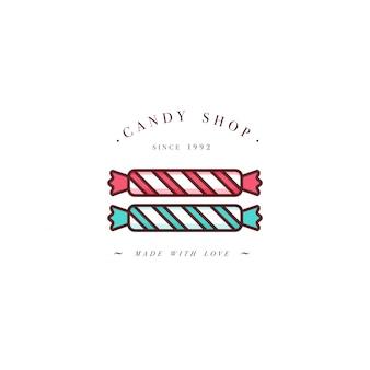 Design colorido modelo logotipo ou emblema - polvilha doce de caramelo. ícone doce. logotipos no elegante estilo linear isolado no fundo branco.
