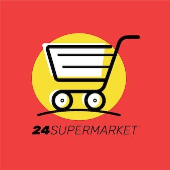 Design com carrinho para logotipo de supermercado