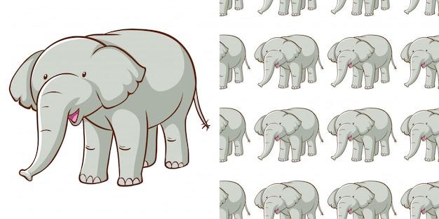 Design com elefante cinza padrão sem emenda