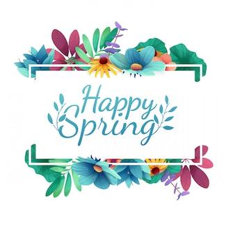 Design com feliz primavera. cartão para a temporada de primavera com moldura branca e ervas.