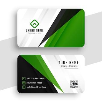 Design com modelo de cartão de visita moderno verde abstrato