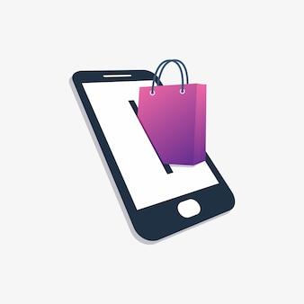 Design com o conceito de loja on-line de telefone inteligente