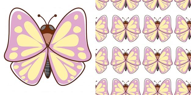 Design com padrão sem costura linda borboleta