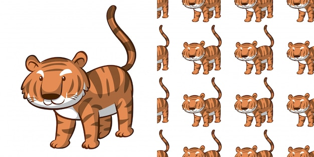 Design com tigre bonito padrão sem emenda