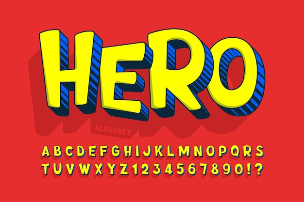 Design cômico moderno em 3d, alfabeto colorido