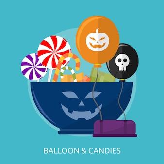 Design conceitual de balões e doces