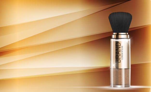 Design cosméticos produto pó modelo plano de fundo. realista 3d