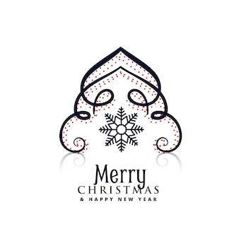 Design criativo da árvore de natal com flocos de neve