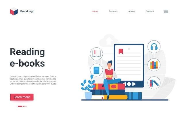 Design criativo da página de destino do site com livro de leitura do personagem do homem dos desenhos animados