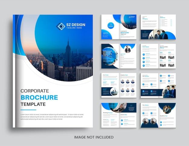 Design criativo de brochura de negócios corporativos com formas geométricas circulares de cor azul e preta