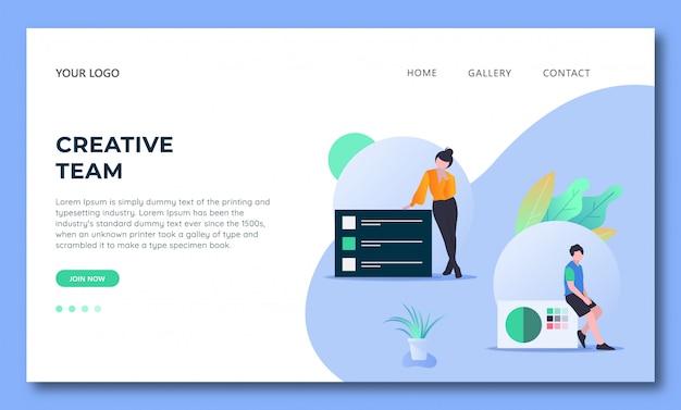 Design criativo de equipe-simples-landing-page