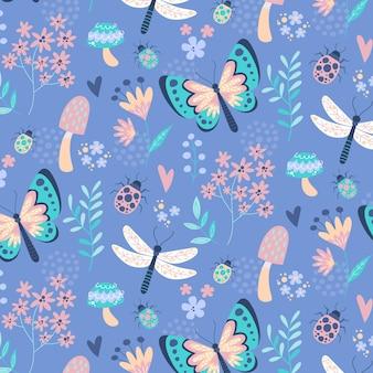 Design criativo de insetos e flores padrão