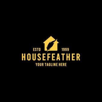 Design criativo de logotipo de penas de casa