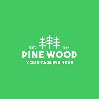 Design criativo de logotipo em madeira de pinho