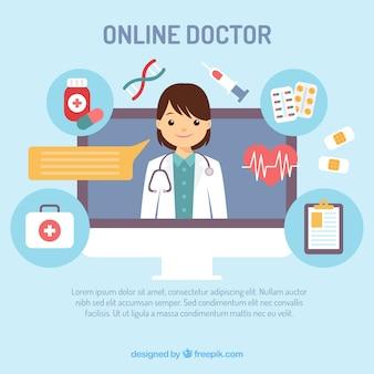Design criativo de médico on-line