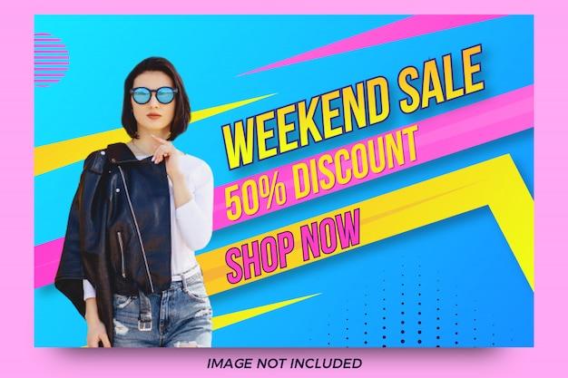 Design criativo de modelo de banner de desconto de venda de fim de semana