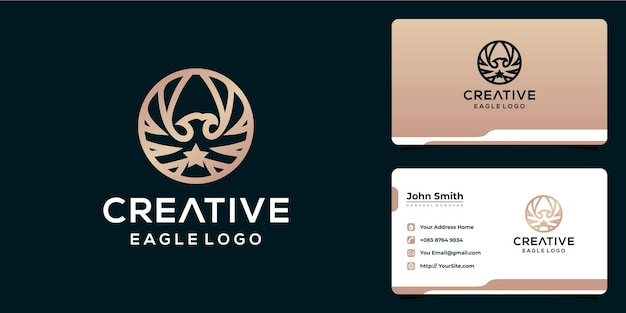 Design criativo do logotipo da águia com estilo monoline e cartão de visita