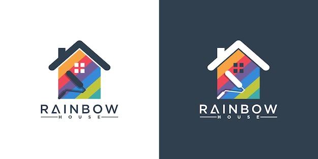 Design criativo do logotipo da casa do arco-íris com formas coloridas de casas premium vector