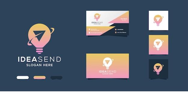 Design criativo do logotipo da lâmpada e modelos de cartão de visita