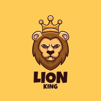 Design criativo do logotipo da mascote do rei leão dos desenhos animados