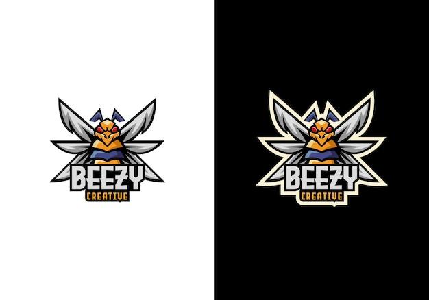 Design criativo do logotipo do personagem bee buzz sport mascote