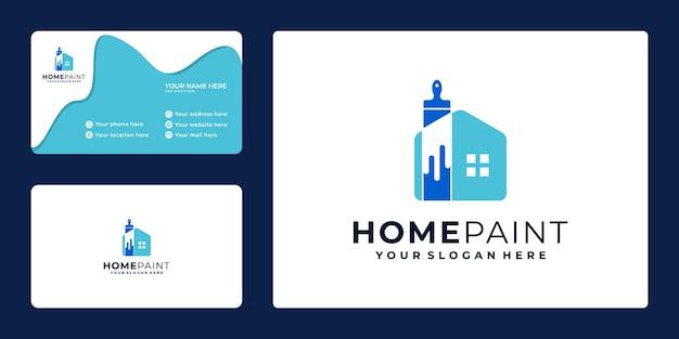 Design criativo logotipo da pintura da casa e cartão de visita