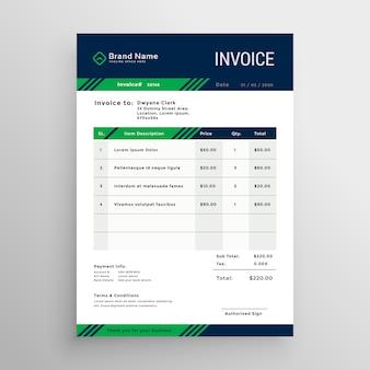 Design criativo modelo de factura azul e verde