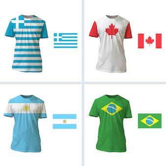 Design da bandeira da coleção de camisetas