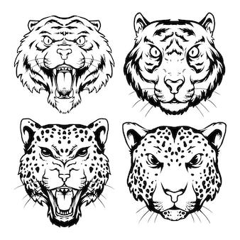 Design da cabeça de tigre e leopardo