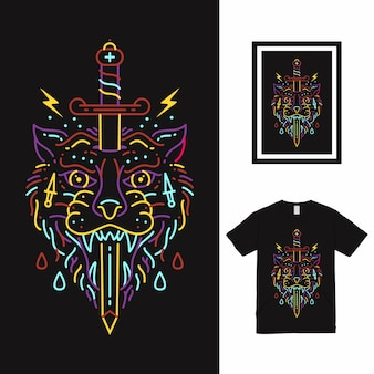 Design da camisa wolf and sword line art t