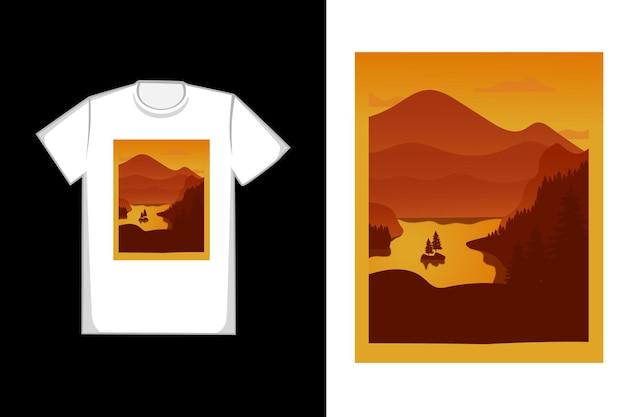 Design da camiseta o lago da montanha é marrom alaranjado