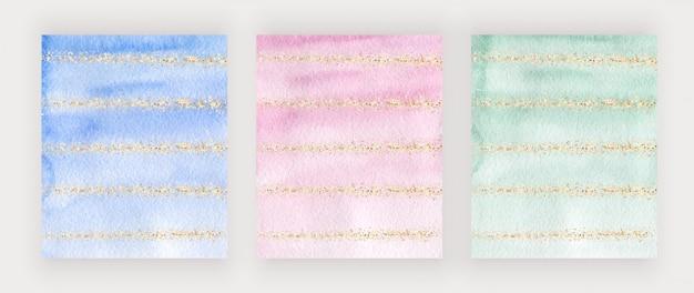 Design da capa aquarela azul, rosa e verde com textura de glitter dourados, confetes