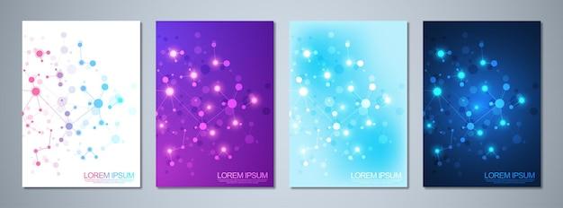 Design da capa com fundo de moléculas. fundo geométrico abstrato de linhas conectadas e pontos. conceito de ciência e tecnologia.