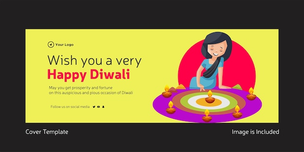 Design da capa de desejo-lhe um modelo de festival indiano diwali muito feliz