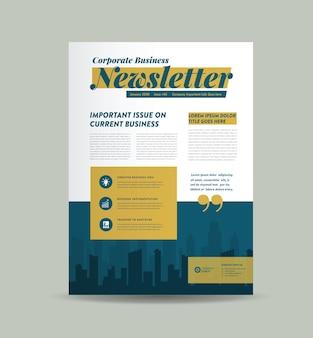Design da capa do boletim de negócios ou design do jornal ou design do relatório mensal ou anual