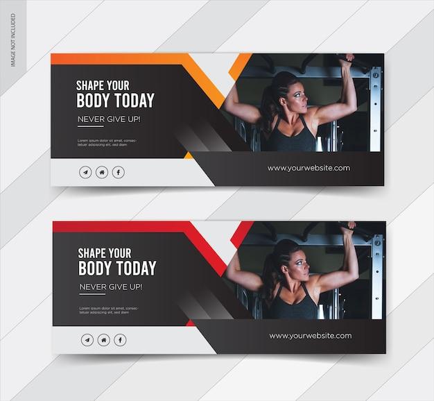 Design da capa do facebook do banner da web de fitness
